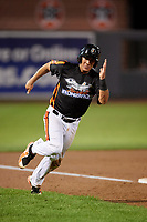 Aberdeen IronBirds catcher Alfredo Gonzalez (19) runs home during a game against the Staten Island Yankees on August 23, 2018 at Leidos Field at Ripken Stadium in Aberdeen, Maryland.  Aberdeen defeated Staten Island 6-2.  (Mike Janes/Four Seam Images)