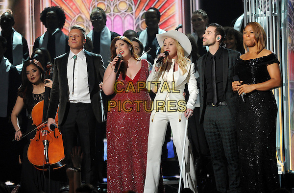 LOS ANGELES, CA - JANUARY 26 : (L-R) Macklemore, Mary Lambert, Madonna, Ryan Lewis and Queen Latifah perform onstage at The 56th Annual GRAMMY Awards at Staples Center on January 26, 2014 in Los Angeles, California.<br /> CAP/MPI/PG<br /> &copy;PGFMicelotta/MediaPunch/Capital Pictures