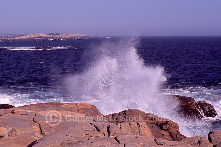 Peggys Cove (Peggy's Cove), NS, Nova Scotia, Canada - Waves crashing / breaking against Rugged Atlantic Ocean East Coast at Peggys Point