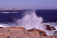 Peggys Cove (Peggy's Cove), NS, Nova Scotia, Canada - Waves crashing / breaking against Rugged Atlantic Ocean East Coast at Peggys Point