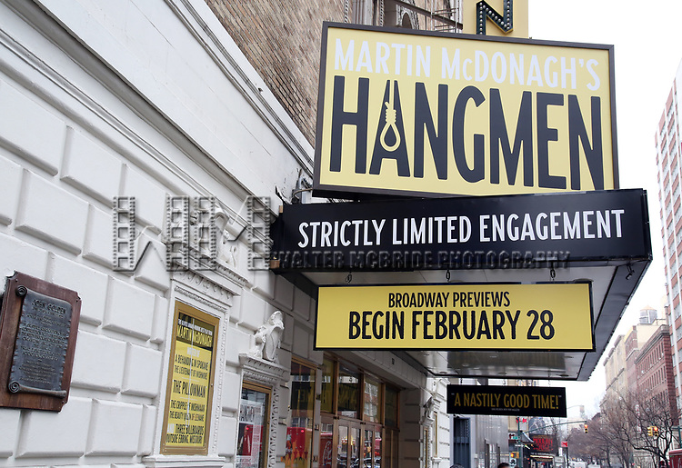 """Theatre Marquee unveiling for Martin McDonagh's Olivier Award-winning """"Hangmen"""" at the Golden Theatre on February 4, 2020 in New York City."""
