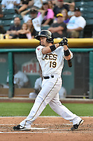 Vance Albitz (19) of the Salt Lake Bees at bat against the Round Rock Express in Pacific Coast League action at Smith's Ballpark on August 21, 2014 in Salt Lake City, Utah.  (Stephen Smith/Four Seam Images)