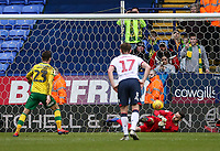 Bolton Wanderers' Remi Matthews saves a penalty taken by Norwich City's Kenny McLean  <br /> <br /> Photographer Andrew Kearns/CameraSport<br /> <br /> The EFL Sky Bet Championship - Bolton Wanderers v Norwich City - Saturday 16th February 2019 - University of Bolton Stadium - Bolton<br /> <br /> World Copyright © 2019 CameraSport. All rights reserved. 43 Linden Ave. Countesthorpe. Leicester. England. LE8 5PG - Tel: +44 (0) 116 277 4147 - admin@camerasport.com - www.camerasport.com