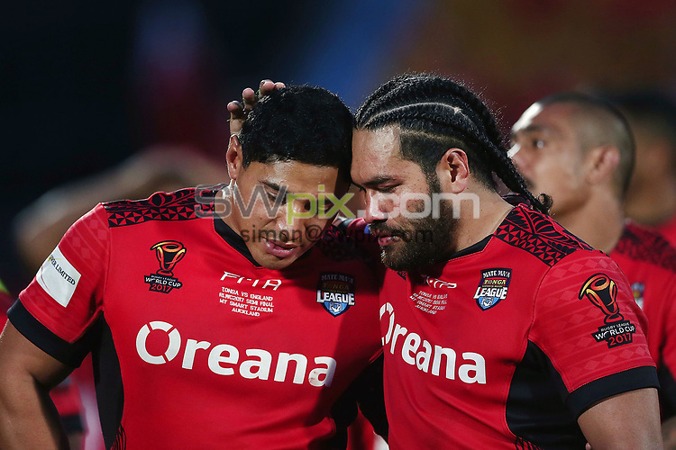 Jason Taumalolo and Konrad Hurrell of Tonga share a moment together after losing the Semi Final against England. 2017 Rugby League World Cup Semi Final, England v Tonga at Mt Smart Stadium, Auckland, New Zealand. 25 November 2017 © Copyright Photo: Anthony Au-Yeung / www.photosport.nz MANDATORY BYLINE/CREDIT : Andrew Cornaga/SWpix.com/PhotosportNZ