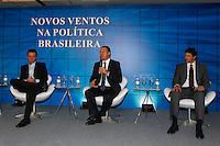 ATENÇÃO EDITOR: FOTO EMBARGADA PARA VEÍCULOS INTERNACIONAIS. SAO PAULO, SP, 03 DE DEZEMBRO DE 2012. SEMINARIO -  OS NOVOS VENTOS NA POLITICA BRASILEIRA.  O prefeito do Rio de Janeiro, Eduardo Paes, O governador de Pernambuco, Eduardo Campos e o prefeito eleito da cidade de São Paulo, Fernando Haddad, durante o seminario Novos ventos na politica brasileira promovido pelo jornal Valor Econômico onde foram discutidos os novos rumos da política brasileira, na tarde desta segunda feira, no WTC, na zona sul da capital paulista. FOTO ADRIANA SPACA / BRAZIL PHOTO PRESS