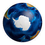 View of the Earth globe from space showing the Antarctic region. Isolated on white background.