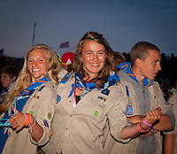 Belgium scouts having party in the audience. Photo: André Jörg/ Scouterna