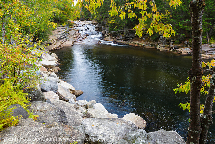 Lower Ammonoosuc Falls on the Ammonoosuc River in Carroll, New Hampshire during the autumn months.