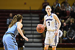 GRAND RAPIDS, MI - MARCH 18: Jaimie Renner (3) of Amherst College looks for an open teammate during the Division III Women's Basketball Championship held at Van Noord Arena on March 18, 2017 in Grand Rapids, Michigan. Amherst defeated 52-29 for the national title. (Photo by Brady Kenniston/NCAA Photos via Getty Images)