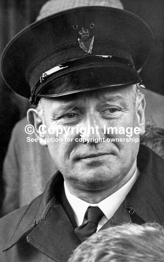 Head Constable Bob Finlay, RUC, Belfast, N Ireland, September 1968, 196809000078<br /> <br /> Copyright Image from Victor Patterson, 54 Dorchester Park, Belfast, UK, BT9 6RJ<br /> <br /> t1: +44 28 9066 1296<br /> t2: +44 28 9002 2446<br /> m: +44 7802 353836<br /> <br /> e1: victorpatterson@me.com<br /> e2: victorpatterson@gmail.com<br /> <br /> IMPORTANT: My Terms and Conditions of Business are at www.victorpatterson.com
