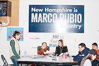 People make calls as part of Get Out the Vote efforts in the campaign headquarters of Republican presidential candidate Marco Rubio in Manchester, New Hampshire. Rubio finished 5th in the primary, a disappointing finish after his strong placing in the Iowa caucus a week earlier.