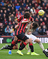 2nd November 2019; Vitality Stadium, Bournemouth, Dorset, England; English Premier League Football, Bournemouth Athletic versus Manchester United; Victor Lindelöf of Manchester United competes for the ball with Nathan Ake of Bournemouth in the penalty area - Strictly Editorial Use Only. No use with unauthorized audio, video, data, fixture lists, club/league logos or 'live' services. Online in-match use limited to 120 images, no video emulation. No use in betting, games or single club/league/player publications