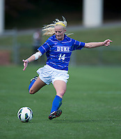 Erin Koballa (14) of Duke lofts the ball forward during the game at Klockner Stadium in Charlottesville, VA.  Virginia defeated Duke, 1-0.