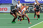 The Hague, Netherlands, June 12: Alex Danson #15 of England and Aline Fobe #4 of Belgium battle for the ball during the field hockey placement match (Women - Place 11/12) between Belgium and England on June 12, 2014 during the World Cup 2014 at Kyocera Stadium in The Hague, Netherlands. Final score after full time 1-1 (0-1). Score after shoot-out 1-2  (Photo by Dirk Markgraf / www.265-images.com) *** Local caption ***