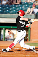 Chattanooga Lookouts Brent Rooker (19) at bat during a game against the Mississippi Braves on August 04, 2018 at AT&T Field in Chattanooga, Tennessee. (Andy Mitchell/Four Seam Images)
