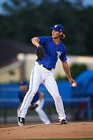 Dunedin Blue Jays pitcher Matt Dermody (44) delivers a pitch during the second game of a doubleheader against the Palm Beach Cardinals on July 31, 2015 at Florida Auto Exchange Stadium in Dunedin, Florida.  Dunedin defeated Palm Beach 4-0.  (Mike Janes/Four Seam Images)