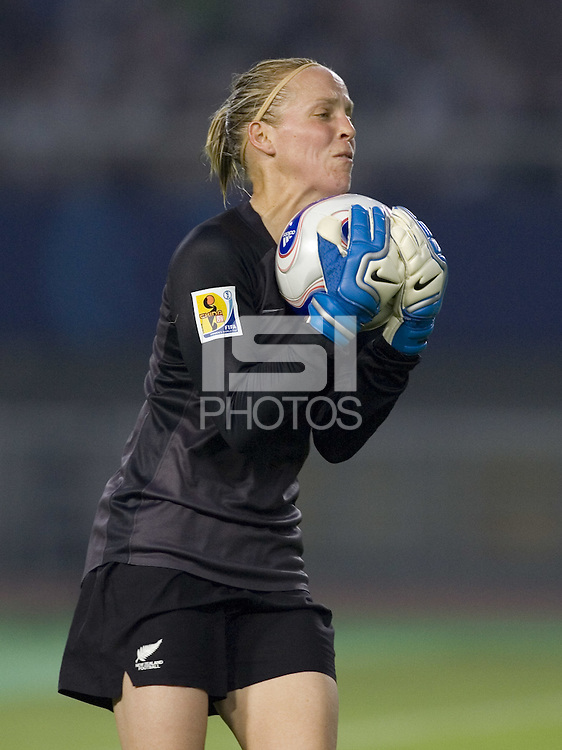 New Zealand goalkeeper (1) Jenny Bindon. Brazil (BRA) defeated New Zealand (NZL) 5-0 in their  FIFA Women's World Cup China 2007 Group D opening round match at Wuhan Sports Center Stadium in Wuhan, China on September 12, 2007.