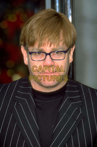ELTON JOHN .Ref:6925.headshot, portrait, stripes, glasses.www.capitalpictures.com.sales@capitalpictures.com.© Capital Pictures.