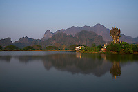 Zwekabin Mountains and the Kyaukkalat Pagoda Hpa An, Myanmar Burma
