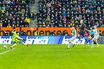 18.01.2020, WWK Arena, Muenchen, GER, 1.FBL,  FC Augsburg vs. Borussia Dortmund, DFL regulations prohibit any use of photographs as image sequences and/or quasi-video, im Bild Torschuss zum 3-5 durch Erling Haaland (BVB #17) mit Tomas Koubek (Augsburg #21) <br /> <br /> Foto © nordphoto / Straubmeier