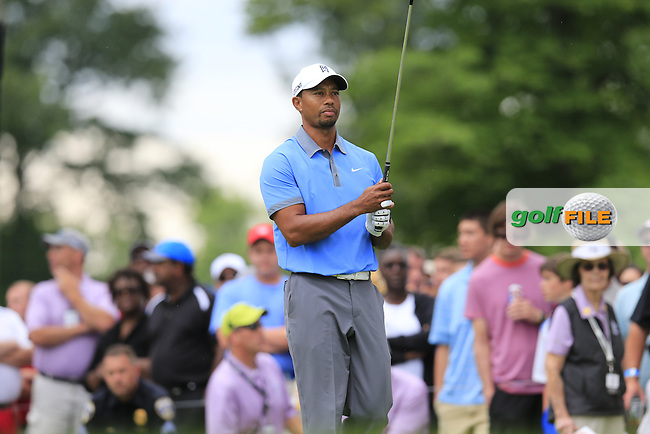 Tiger Woods (USA) on the 15th tee during Friday's Round 1 of the 2013 Bridgestone Invitational WGC tournament held at the Firestone Country Club, Akron, Ohio. 2nd August 2013.<br /> Picture: Eoin Clarke www.golffile.ie