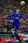 30th January 2019, Anfield, Liverpool, England; EPL Premier League football, Liverpool versus Leicester City; Marc Albrighton of Leicester City controls the ball close to the touchline