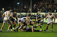 Olly Cracknell of Ospreys is tackled by Marty Moore of Ulster during the Guinness Pro14 Round 15 match between the Ospreys and Ulster Rugby at Morganstone Brewery Field in Bridgend, Wales, UK. Friday 15 February 2019