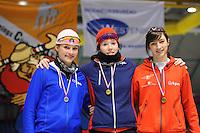 SCHAATSEN: HEERENVEEN: Thialf, Viking Race, 18-03-2011, Podium Girls15 1000m, Jade van der Molen (NED), Antoinette de Jong (G-FR), Bente van den Berge (G-FR), ©foto Martin de Jong