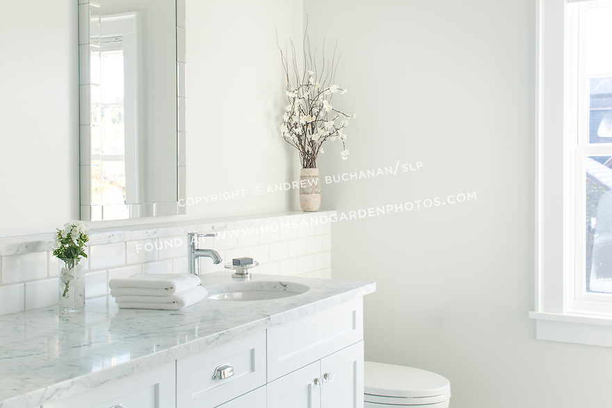 White vanity and pale grey marble create a crisp clean look in this new bathroom. This image is available through an alternate architectural stock image agency, Collinstock located here: http://www.collinstock.com