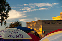Tents and protesters seen in front of the Irvine Civic Center at the Occupy Orange County encampment in Irvine, CA.