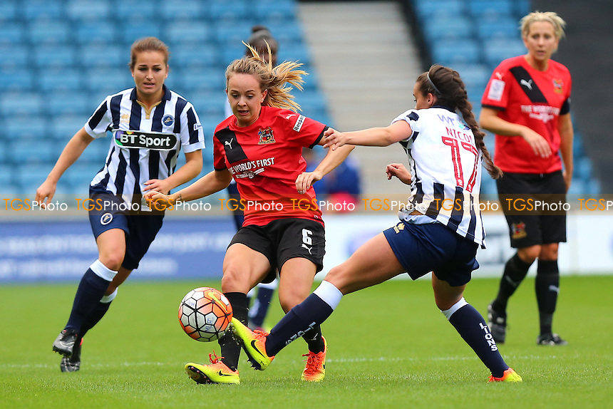 Billie Murphy of Sheffield and Leigh Nicol of Millwall during Millwall Lionesses vs Sheffield FC Ladies, FA Women's Super League FA WSL2 Football at The Den on 9th October 2016