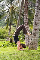 A young woman practicing a yoga pose on the lawn in Waimea Vallery