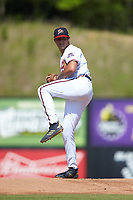 Danville Braves starting pitcher Matt Rowland (27) in action against the Bristol Pirates at American Legion Post 325 Field on July 1, 2018 in Danville, Virginia. The Braves defeated the Pirates 3-2 in 10 innings. (Brian Westerholt/Four Seam Images)