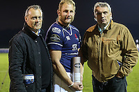 Man of the Match, Mark Bright (c) of London Scottish, receives the Man of the Match award after the Greene King IPA Championship match between London Scottish Football Club and Nottingham Rugby at Richmond Athletic Ground, Richmond, United Kingdom on 16 October 2015. Photo by David Horn.