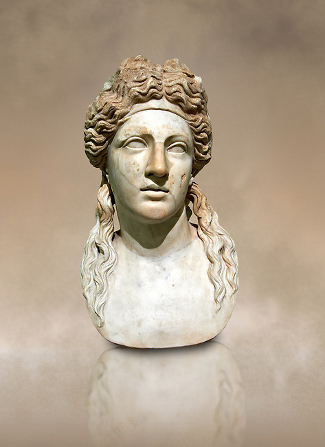 2nd century AD Roman marble sculptured head known as The Farnese Dionysus,  a Roman copy of a  Hellenistic Geek original, inv 6034, Naples Museum of Archaeology, Italy