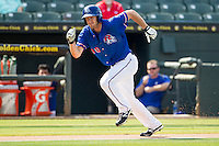 Round Rock Express outfielder Jared Hoying (30) sprints towards home during the first game of a Pacific Coast League doubleheader against the Memphis Redbirds on August 3, 2014 at the Dell Diamond in Round Rock, Texas. The Redbirds defeated the Express 4-0. (Andrew Woolley/Four Seam Images)