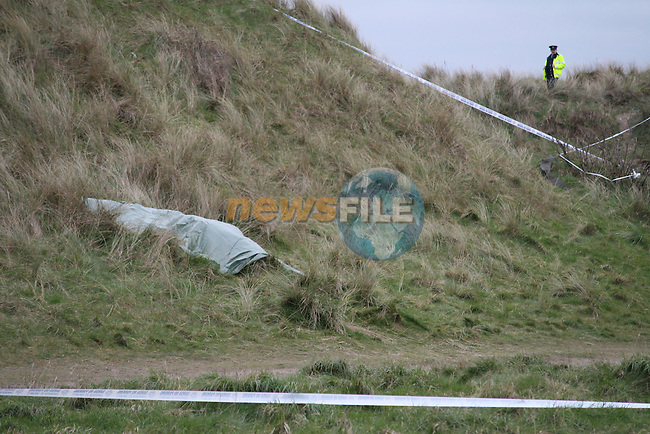 The scene of the fatal shooting in Mornington Co Meath. where the body of a male was left lying in the grass close to the beach..Photo: Jenny Matthews/ Newsfile.