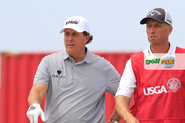 Phil MICKELSON (USA) and caddy Jim &quot;Bones&quot; Mackay on the 18th tee during Thursday's Round 1 of the 2015 U.S. Open 115th National Championship held at Chambers Bay, Seattle, Washington, USA. 6/18/2015.<br /> Picture: Golffile | Eoin Clarke<br /> <br /> <br /> <br /> <br /> All photo usage must carry mandatory copyright credit (&copy; Golffile | Eoin Clarke)