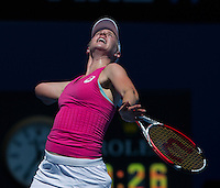 ALISON RISKE (USA)<br /> Tennis - Australian Open - Grand Slam -  Melbourne Park -  2014 -  Melbourne - Australia  - 17th January 2014. <br /> <br /> &copy; AMN IMAGES, 1A.12B Victoria Road, Bellevue Hill, NSW 2023, Australia<br /> Tel - +61 433 754 488<br /> <br /> mike@tennisphotonet.com<br /> www.amnimages.com<br /> <br /> International Tennis Photo Agency - AMN Images