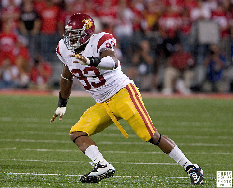 12 September 2009:  Football -- USC defensive end Everson Griffen takes off during their game against Ohio State at Ohio Stadium in Columbus.  USC won 18-15.  Photo by Christopher McGuire.