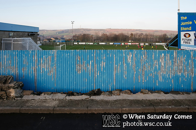 A view from outside the ground past the Jamie Vardy Stand. Stocksbridge Park Steels v Pickering Town,  Evo-Stik East Division, 17th November 2018. Stocksbridge Park Steels were born from the works team of the local British Steel plant that dominates the town north of Sheffield.<br />