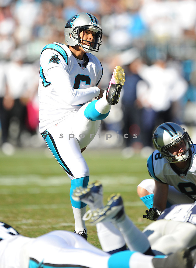 Carolina Panthers Justin Medlock (6) in action during a game against the Cowboys on October 21, 2012 at Bank of America Stadium in Charlotte, NC. The Cowboys beat the Panthers 19-14.