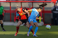 Bridgeview, IL, USA - Saturday, April 23, 2016: Western New York Flash defender Alanna Kennedy (8) and Chicago Red Stars forward Christen Press (23) during a regular season National Women's Soccer League match between the Chicago Red Stars and the Western New York Flash at Toyota Park. Chicago won 1-0.