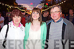 Pictured at Sharon Shannon on Monday night in Denny Street, from left: Patricia Lawlor, Ciara Lawlor, and Brendan Lawlor, from Ballyheigue.