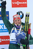17th March 2019, Ostersund, Sweden; IBU World Championships Biathlon, day 9, mass start women; Denise Herrmann (GER) celebrates with her medal for 3rd place