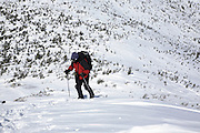 Appalachian Trail - Hikers make their way along the Franconia Ridge Trail during the winter months. Located in the White Mountains, New Hampshire USA..Notes: