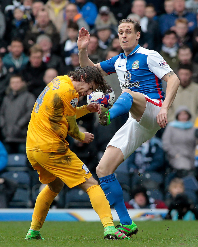 Preston North End&rsquo;s Ben Pearson battles with Blackburn Rovers' Matthew Kilgallon<br /> <br /> Photographer David shipman/CameraSport<br /> <br /> Football - The Football League Sky Bet Championship - Blackburn Rovers v Preston North End - Saturday 2nd April 2016 - Ewood Park - Blackburn<br /> <br /> &copy; CameraSport - 43 Linden Ave. Countesthorpe. Leicester. England. LE8 5PG - Tel: +44 (0) 116 277 4147 - admin@camerasport.com - www.camerasport.com