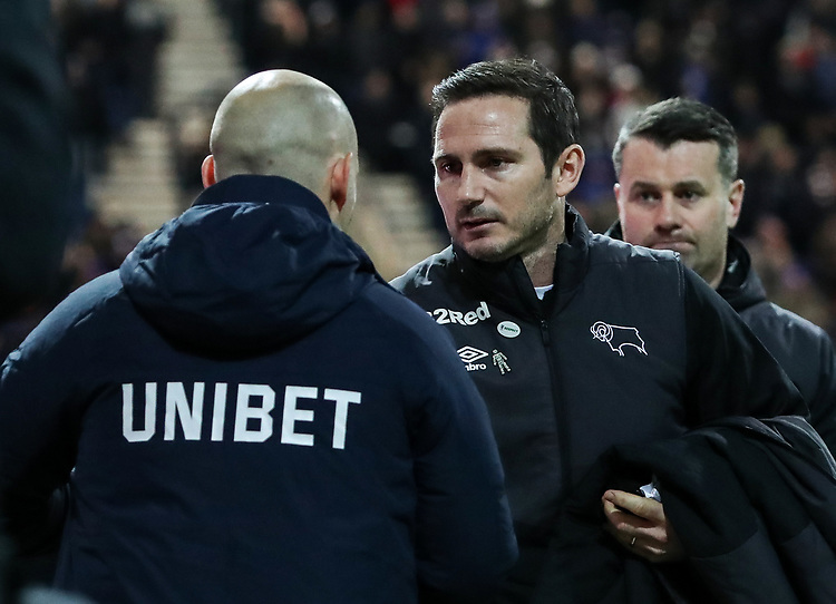 Preston North End's manager Alex Neil greets Derby County's manager Frank Lampard <br /> <br /> Photographer Andrew Kearns/CameraSport<br /> <br /> The EFL Sky Bet Championship - Preston North End v Derby County - Friday 1st February 2019 - Deepdale Stadium - Preston<br /> <br /> World Copyright © 2019 CameraSport. All rights reserved. 43 Linden Ave. Countesthorpe. Leicester. England. LE8 5PG - Tel: +44 (0) 116 277 4147 - admin@camerasport.com - www.camerasport.com