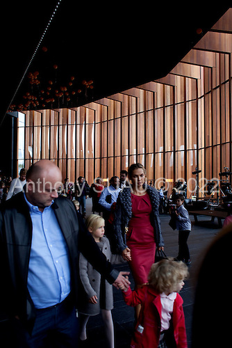 Moscow, Russia<br /> September 20, 2009<br /> <br /> After a performance at the Barviha Luxury Village theater, a new structure by Russian Architect Yuri Grigoryan, parents and children walk through the beautiful interior.
