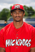 Batavia Muckdogs outfielder Virgil Hill #1 poses for a photo before the first day of practice for the start of the NY-Penn League at the Dwyer Stadium in Batavia, New York;  June 13, 2011.  Photo By Mike Janes/Four Seam Images